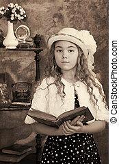 liten flicka, årgång fotografi