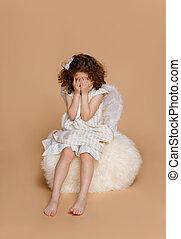 liten flicka, beige, påskyndar, vertikal, över, klänning, ...