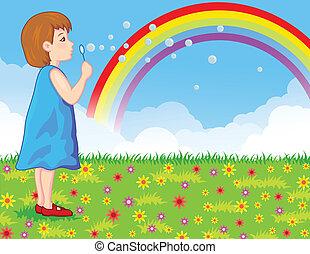 liten flicka, bubblar, tvål, blåsning