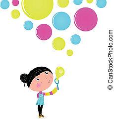 liten flicka, bubblar, tvål, blåsning, söt, isolerat, vit