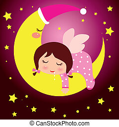 liten flicka, drömma, måne