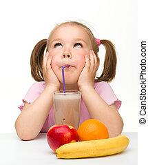 liten flicka, drycken, frukt saft