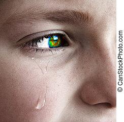 liten flicka, grät, med, river