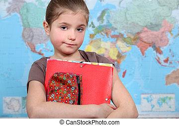 liten flicka, hos, skola