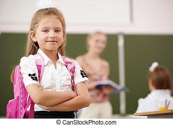 liten flicka, hos, skolan klassificerar