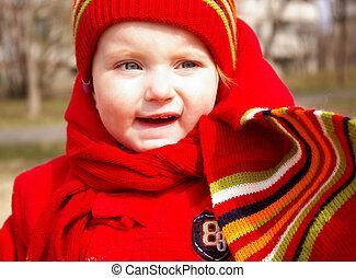 liten flicka, in, den, mössa, och, scarf