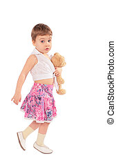 liten flicka, in, kjol, med, leksak