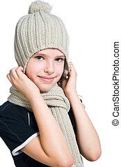liten flicka, in, mössa, och, scarf