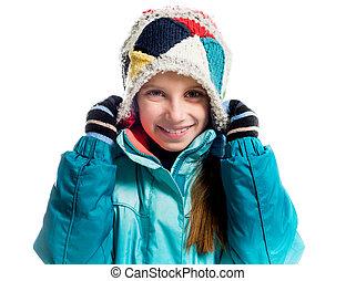 liten flicka, in, varm, kläder