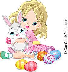 liten flicka, kanin, påsk