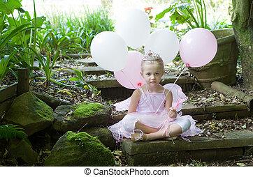liten flicka, klä upp, som, a, saga, balett, prinsessa, på,...