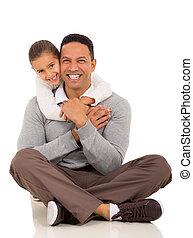 liten flicka, krama, henne, fader