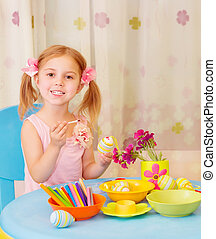 liten flicka, måla, påsk eggar