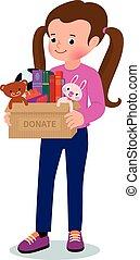 liten flicka, med, a, boxas, av, donations