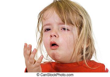 liten flicka, med, den, influensa