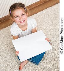 liten flicka, med, den, laken om papper