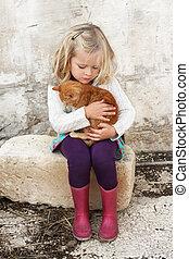 liten flicka, med, katt