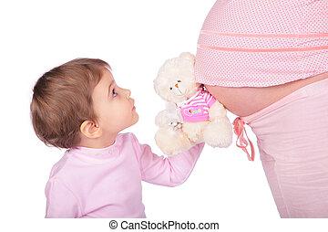 liten flicka, med, leksak, och, gravid