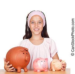 liten flicka, med, med, tre, piggy-bank