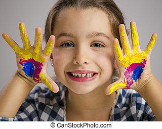 liten flicka, med, räcker, in, måla