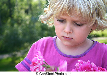 liten flicka, med, rosa, pion