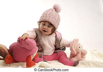 liten flicka, med, toys