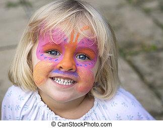 liten flicka, med, uppsyn måla