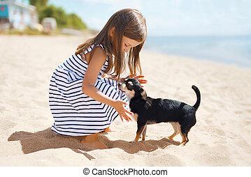 liten flicka, och, hund, stranden, in, solig, sommar dag, nära, hav, barn, med, valp, utomhus