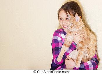 liten flicka, och, kattunge, titta i sidled