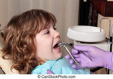 liten flicka, tand, extracted, tandläkare