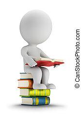 liten, folk, böcker, 3, sittande