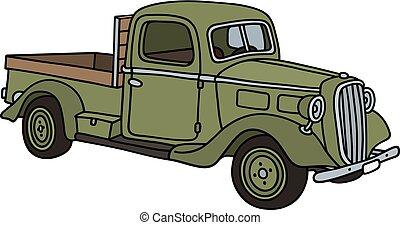 liten, grön, lastbil, retro
