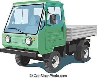 liten, grön, lastbil