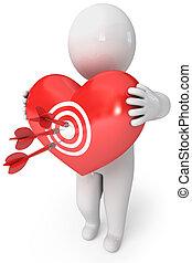 liten, heart., pil, cupid, folk