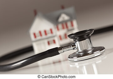 liten, hem, modell, stetoskop