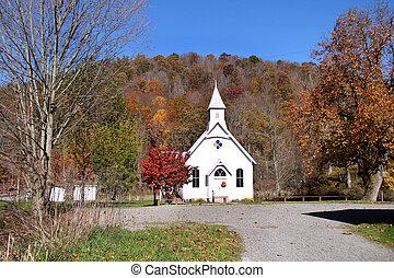 liten, historisk, kyrka