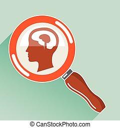 liten, hjärna, under, förstoringsglas