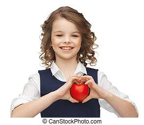 liten, hjärta, flicka