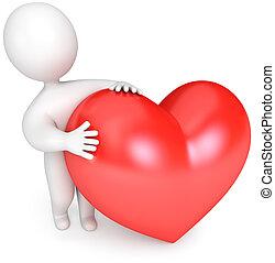 liten, hjärta, folk