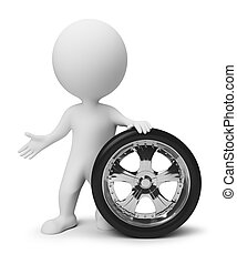 liten, hjul, 3, -, folk