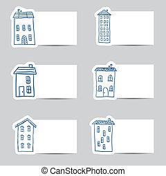 liten, hus, kort, doodles