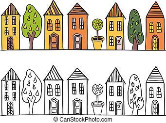 liten, hus, stad, mönster