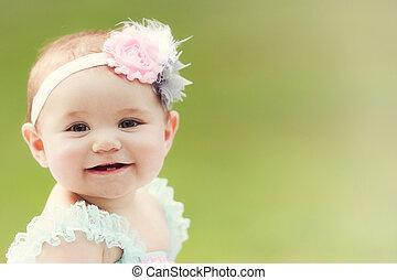 liten knatte, caucasian, japansk, flicka, utanför, le