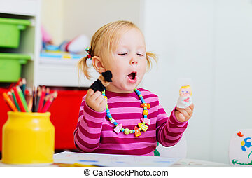 liten knatte, flicka, leka, med, finger, puppets