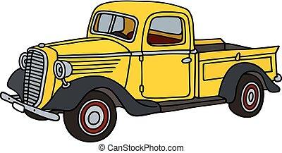 liten, lastbil, gul, klassisk
