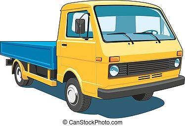 liten, lastbil, gul