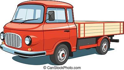 liten, lastbil, röd