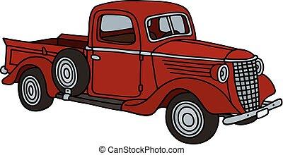 liten, lastbil, röd, klassisk