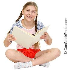 liten, lycklig, flicka, bok, räcker
