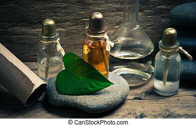 liten medicinflaska, av, parfym, oljor, in, vällukt, labb